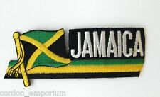 JAMAICA INTERNATIONAL WORLD COUNTRY FLAG EMBROIDERED CUTOUT PATCH 2X5 INCHES