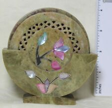 6 Decorative Stone Marble Coasters Hand Carved Jali Cut w/Beautiful Pearl Flower