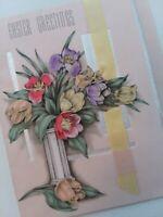 1937 Vtg Romantic Vtg Rust Craft RIBBON Foil EASTER GREETING CARD