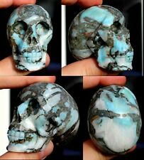 "CARVED CRYSTAL SKULL - Dominican Republic LARIMAR - 2 3/8"" long (s11)"