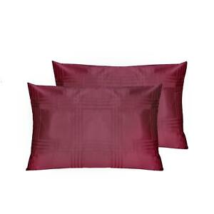 500TC Elegant Check Pillowcase Pair - Wine - Housewife