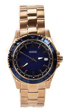 Guess Plugged In Blue Dial Brushed Rose Gold Bracelet Ladies Watch Wo4692l