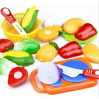 Kids Pretend Role Play Kitchen Fruit Vegetable Food Cutting Toy Set Gifts OO