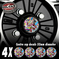 4x 55mm diameter stickerbomb centre cap decals drift illest jdm dub euro vw