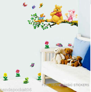 WINNIE THE POOH 2PCS WALL ART DECO MURAL STICKER BABY KIDS NURSERY HOME DECOR
