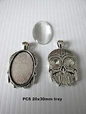 PC8 5sets 20x30mm oval antique silver blank cabochon bezel setting pendant  UK
