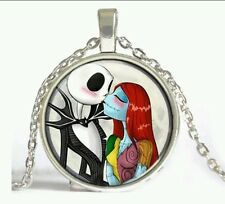 Nightmare Before Christmas Jack Sally Love Glass Necklace Pendant Charm Gift