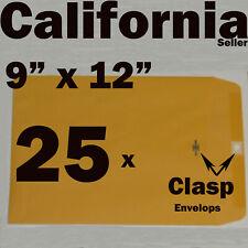 25 Manila 9x12 Clasp Kraft Catalog Mailing Envelopes 9 12 Brown Self Seal 9x12