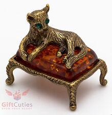 Solid Brass Amber Figurine of Elegant Cat on a padded amber sofa IronWork