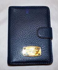 NWT Michael Kors Jet Set Leather Passport Holder Case Wallet - Navy Blue