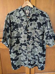 Tommy Bahama Mens Medium Shirt 100% Silk  Hawaiian Floral Print Button Up Black
