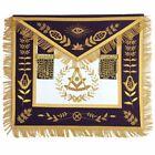 Masonic Regalia Blue Lodge Past Master Gold Handmade Embroidery Apron Purple Vel