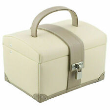 Dulwich Designs Cream & Mink Real Leather Medium Jewellery Box Cannes Collection