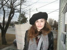 "#E6 fit size 24""25""  inches unisex beret persian lamb fur hat jet black"