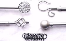 19mm Silver Curtain Pole w Twisted Cage / Spiral Ball or Scroll Finials 3m 300cm
