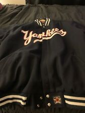 Yankees Bomber Jacket Blue White Red Lettering Men's 5XLDown Quilted On The In