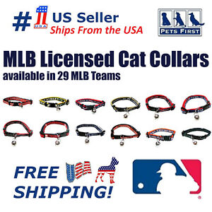 MLB Adjustable, Breakaway Cat Collar, Durable Nylon with Jingle Bell in 29 teams