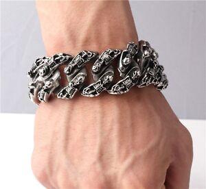 Rock Biker Gothic SKULL Silver Titanium Stainless Steel Bracelet Chain 8.5 inch