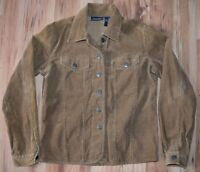 Corduroy Jean Jacket Golden Brown Womens Small Flap Front Pockets EUC