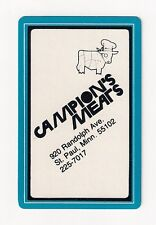 bridge deck playing cards advertising Campion's Meats, St. Paul, MN, catering
