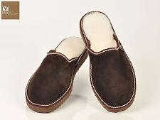 Brown Tobacco mens fur sheepskin mule slippers. Suede leather and merinos wool.