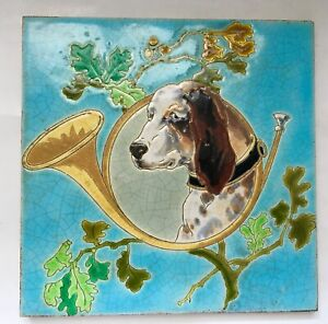 ° Rare POINTER Hunting Dog Horn Oak GIEN Art Nouveau Tile Jugendstil Tegel Blue