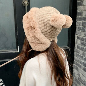 Women Faux Fur Knit Bobble Beanie Hat Cute Pom Pom Ball Cossack Ski Warm Winter