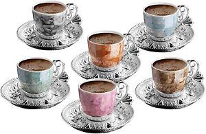 Turkish Greek Arabic Coffee Espresso Demitasse Cup Saucer Spoon Set, Multicolor
