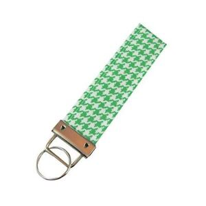 Green Houndstooth Key Fob/Fabric Key Chain