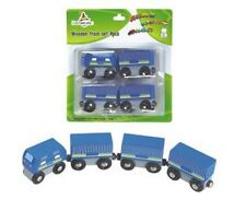 Wooden  Blue Passenger Magnetic Train Set Educational Learning Toy 4pc New