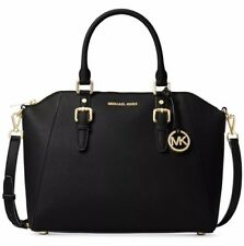 new Michael Kors Ciara Large Saffiano Leather Satchel black gold tone top zip