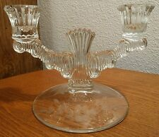 """Paden City Glass """"Largo"""" Floral Cut Double Candlestick Candle Holder EXC🌟"""