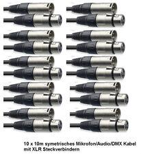 10x10 m Mikrofonkabel XLR-XLR 3-pol schwarz DMX-Kabel Mikrofon-Kabel Top Angebot