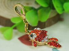 XS015 Small Red Fish Keyring Rhinestone Crystal Pendant Couple Keychains Gift