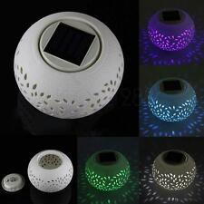 CERAMIC #L COLOUR CHANGING LED SOLAR SUN POWER FILIGREE TABLE LIGHT GARDEN LAMP