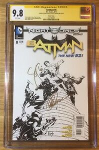 Batman 8, 1:200 B&W Sketch New 52, CGC 9.8 2X SS, signed Snyder & Capullo, NM/MT