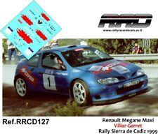 DECAL/CALCA 1/43; Renault Megane Maxi; Villar-Garret; Rally Sierra de Cadiz 1999