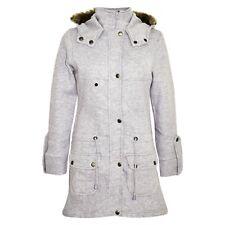 Kids Girls Grey Fleece Parka Jacket Long Faux Fur Hooded Winter Coats Age 5-13