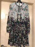 TED BAKER LONDON MEELIA Entangled Enchantment ruffled neck dress Size 4 (AUS 14)