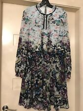 TED BAKER LONDON MEELIA Entangled Enchantment ruffled neck dress Size 4 (AUS 14)