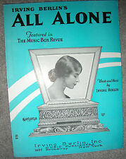1924 ALL ALONE Vintage Sheet Music by Irving Berlin, THE MUSIC BOX REVUE