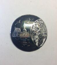 "Dancer Brooch Pin Sz 1.5"" G37 Vintage Solid Sterling Silver & Enamel Dancing"