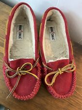 Minnetonka 8 Moccasins Red Suede Shearling Lined Warm