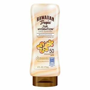 3-Pack Hawaiian Tropic Silk Hydration Weightless Sunscreen Lotion 6 Oz  SPF50