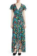 ALICE + OLIVIA Chelsea Wildflower Floral Print Adrianna Faux Wrap Midi Maxi 6 S