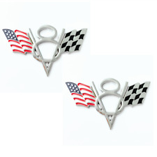 2Pcs 3D American US Flag Racing V8 Emblems Badges Fit for Chevrolet Cadillac GMC