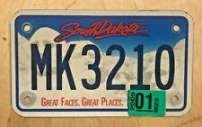 "2009 SOUTH DAKOTA MOTORCYCLE CYCLE  LICENSE PLATE "" MK 3210 "" SD 09"