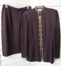 St. John COLLECTION MARY GRAY DEEP PURPLE GOLD KNIT SUIT JACKET SKIRT SIZE 10