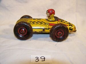 "#39, VINTAGE, Marx 6"" Windup race car with driver, used"