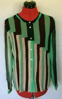 WILFRED SILK BLOUSE TOP WOMENS SIZE S SMALL BLUE GREEN STRIPED *U